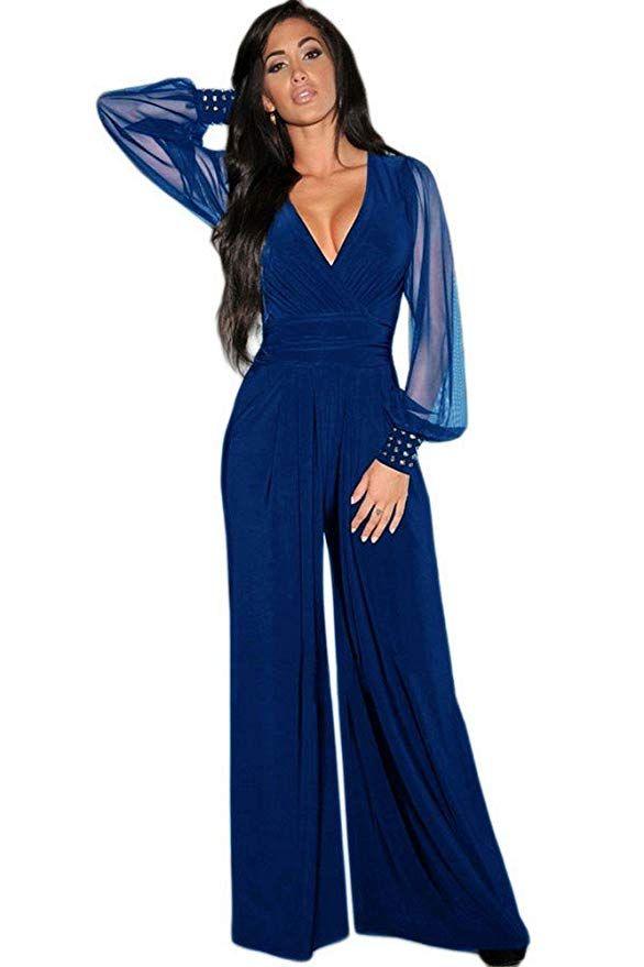 tuta elegante pantaloni lungo jumpsuit vestito abito cerimonia da donna  -Blue-S bb68057c76c