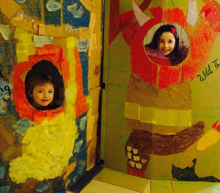 Wild Thing Cardboard cut outs for Art Show photo booth. Collaborative piece, pastel and collage'.