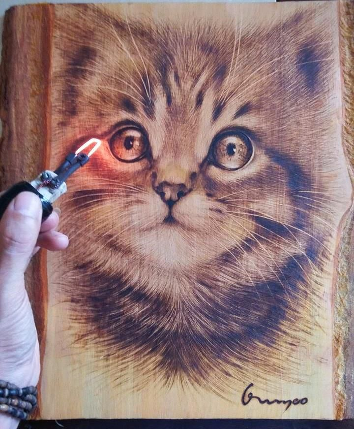 Wood burned Cat - How to wood burn art...