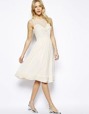 ASOS Midi Dress With Lace Inserts