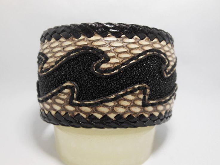Black Stingray Wave Leather Cuff Bangle,Dark Brown Snake Leather Cuff,Men Leather Bracelet,Bracelet,Men Cuff.Leather Cuff,Wave,Black,Snake by Supsilver on Etsy