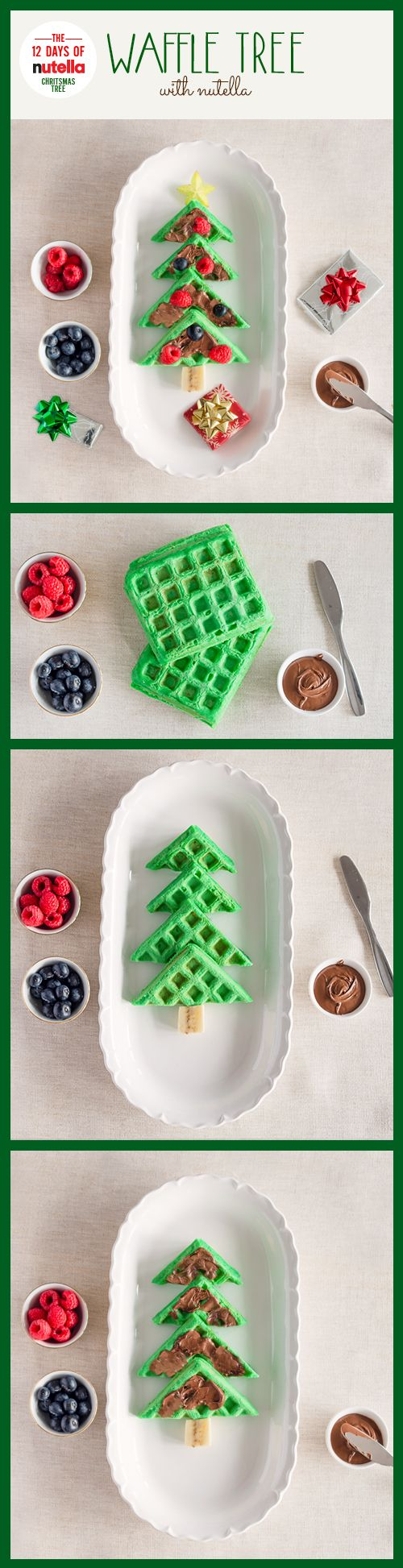 Trimming your own waffle tree with Nutella® is a tradition worth repeating year after delicious year. Just add green food coloring to your waffle batter, cook in a waffle iron, spread Nutella on waffles and use your favorite fruits as decorations. One look and your family will be rockin' around the kitchen table.