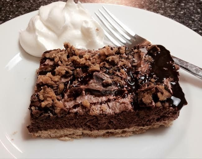WW 4 Pts Plus Peanut Butter Cup Pie 4 Sheets Honey Graham Crackers 1 8 oz Tub of Fat Free Cool Whip 2 Tablespoons PB2 2 Tablespoons Choc Syrup 1 Package of Chocolate Fudge (Sugar Free) Jello 2 Reeces Peanut butter Cups Put Graham crackers on bottom of an 8x8 Dish. Mix PB2 & 1.5 TBLS water until creamy. Mix Cool Whip & Jello. Pour on top of Graham Crackers & smooth. Drizzle PB2 & choc. Syrup over pie. Crumble Peanut Butter Cups over the top. Cover & Freeze for 3 Hrs. Cut into 6 Pieces.