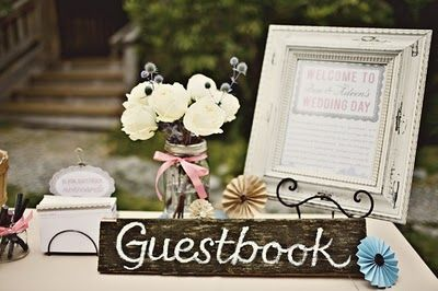 Weathered-chic guestbook table