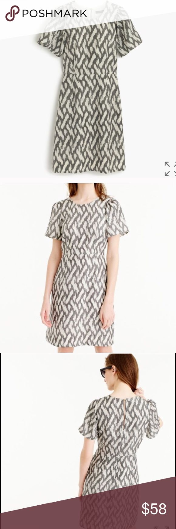 NWT    J. Crew Flutter Sleeve Ikat Dress Sz 4 NWT J. Crew sz 4 Falls just above the knee. Flattering and waist defining. Silk. Back keyhole. Perfect for spring/summer!!! Make an offer!! 👗 J. Crew Dresses