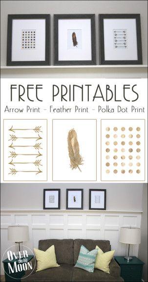 Free Printable Decor Printables - Arrow, Feather and Polka Dot prints!  From www.overthebigmoon.com!