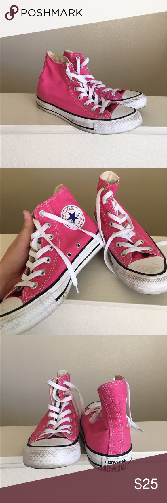 Pink High Top Converse Size 7 bright pink high top classic sneakers by Converse. Some scuffs on the toes and need to be cleaned up a little bit on the sides of the soles. No tears or signs of wear other than the scuffs. Open to offers; bundles discounted! Converse Shoes Sneakers