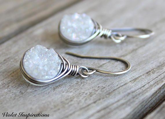 Druzy Quartz Earrings / Wire Wrapped Earrings / Sterling Silver Earrings / Summer Earrings / White Quartz / Wire Wrapped Jewelry