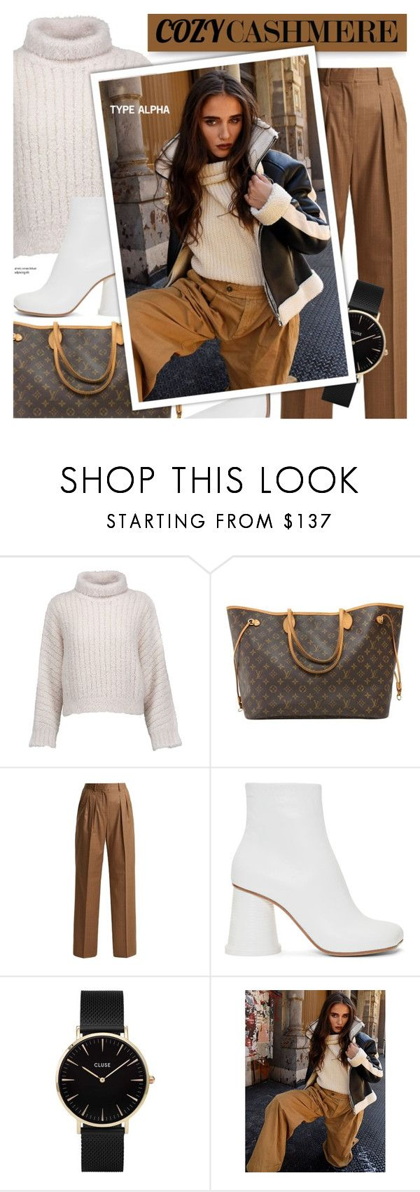"""""""Cozy street style - Faux Shearling Bomber Jacket"""" by typealpha ❤ liked on Polyvore featuring Brunello Cucinelli, Louis Vuitton, MaxMara, MM6 Maison Margiela and CLUSE"""