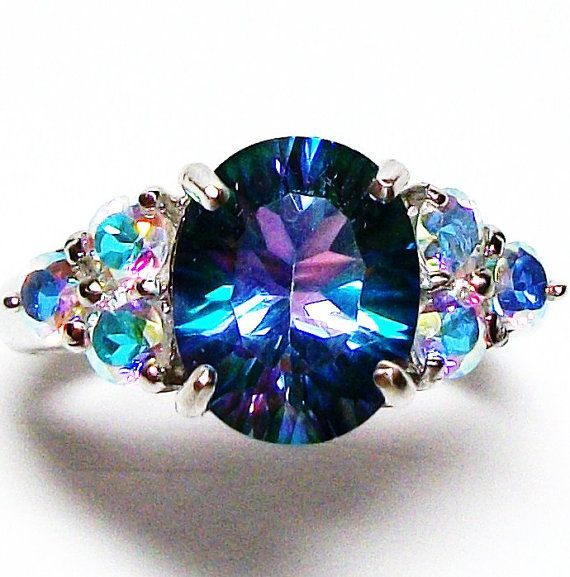 "RESERVED for J.L. - Petalite and mercury mist topaz accent ring s 7  ""Rainbow Rhapsody"""