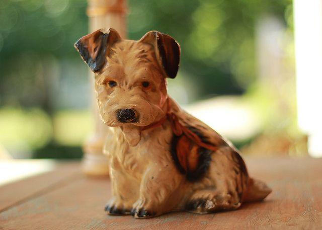 Sweet Vintage Chalkware Dog,