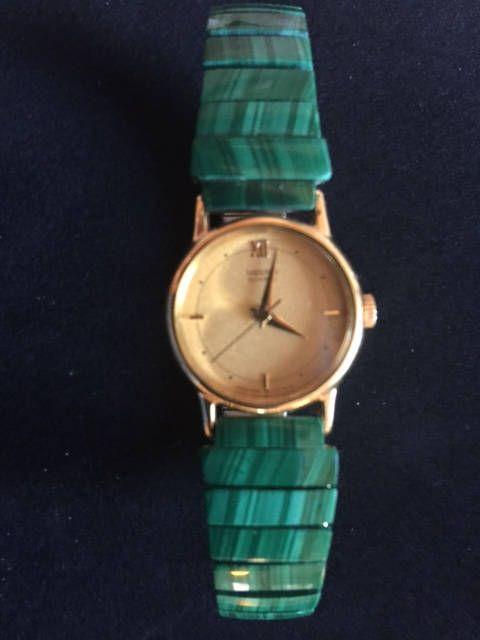 Superb Green Malachite Watchband with Women's Seiko Gold Tone Quartz Watch