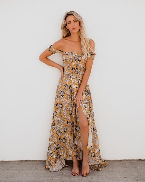 Jaune Floral Ruched Maxi Dress | Vici Dolls Clothing ...