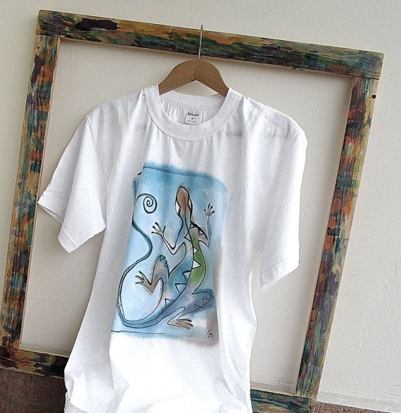 Paint  tshirt  Blue Lizard . Unique hand painted by AHouseAtelier, $40.00