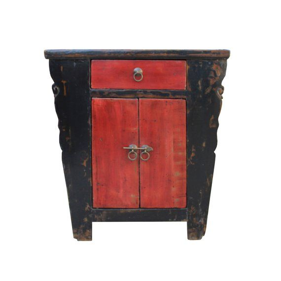 distressed red black lacquer credenza bathroom vanity table cabinet rh pinterest com