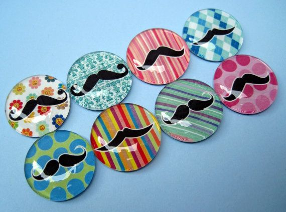 Mustache Magnets - Set of Eight Glass Magnets in a Stuck Together Gift Tin ($12.95)