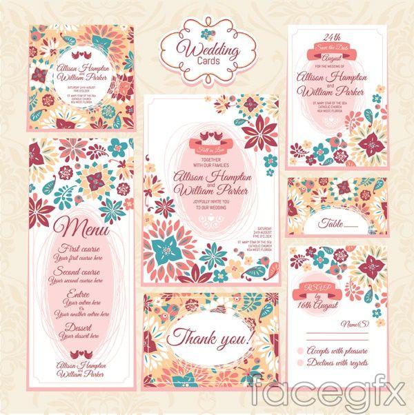 Wedding Invitation Cards Pattern Vector