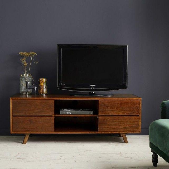 Meuble Tv En Bois Finition Noyer 4 Tiroirs Meuble Tv Bois Mobilier De Salon Meuble Tv