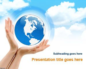 Free Earth Environment PowerPoint template is a nice presentation design with hands and Earth picture