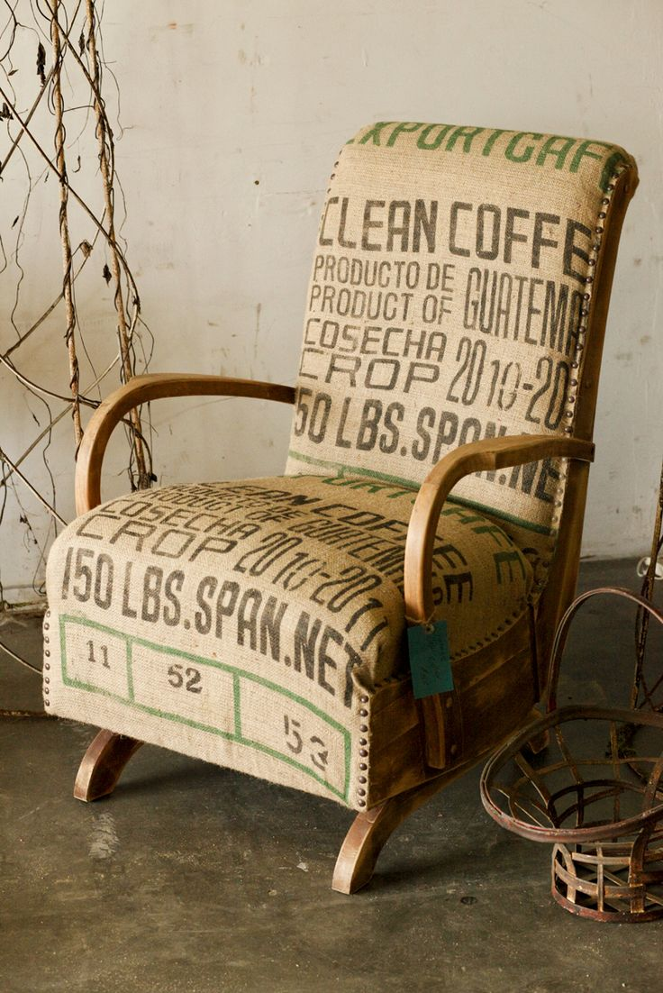 ... Rocker Chair - Reupholstered vintage rocking chair using coffee bean