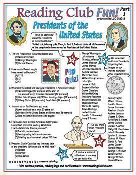 U.S. PRESIDENTS - Learn about different Presidents of the United States with this Quiz and Word Search Puzzle!