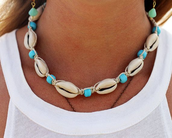 Hemp Shell Necklace Cowrie Shell Necklace Shell by HempBeadery