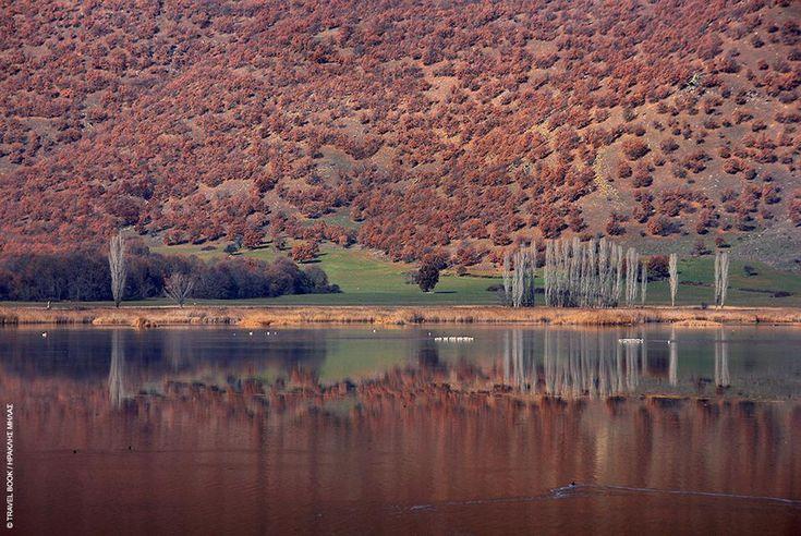 Beautiful lakes of Macedonia, Greece Lake Vegoritida, western Macedonia, northern Greece Florina and Pella Perfecture