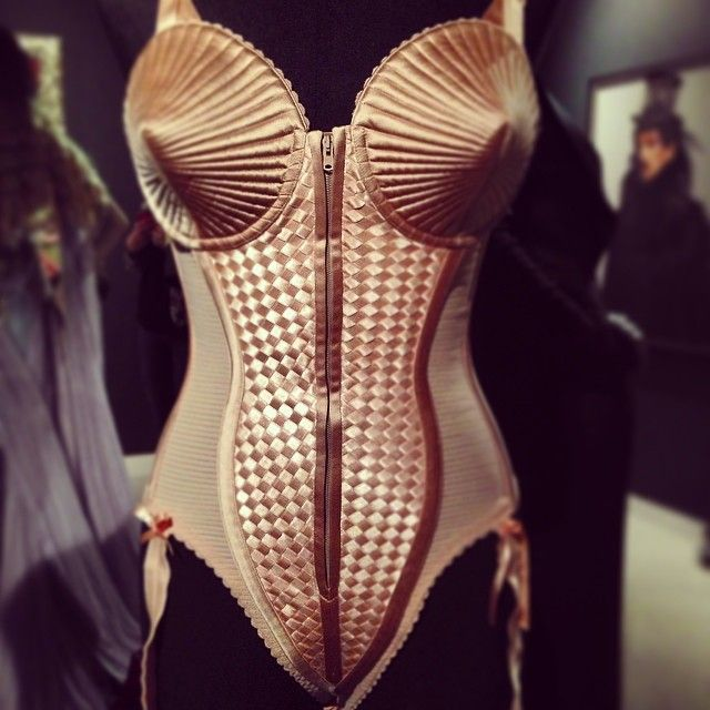 The iconic Madonna conical bra- The Fashion World of Jean Paul Gaultier, Barbicon Centre, London