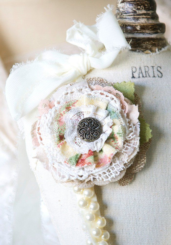 Rosy Posy Designs rustic fabric flower pins are pretty bridesmaid and wedding accessories... pinned onto a necklace, dress or sash belt.