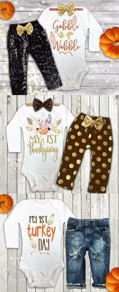 Baby's first Thanksgiving outfits - onesie or shirt.  Pants bundle available too. #babysfirstthanksgiving #thanksgiving #thanksgivingbaby #baby #outfit #thanksgiving #promoted #etsy
