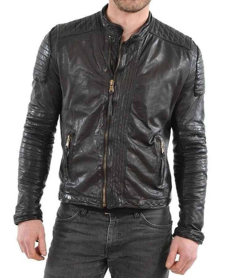 Mens Original Biker Leather Motorcycle Jacket Lambskin Genuine Zipper Coat SZ150 #Handmade #Motorcycle