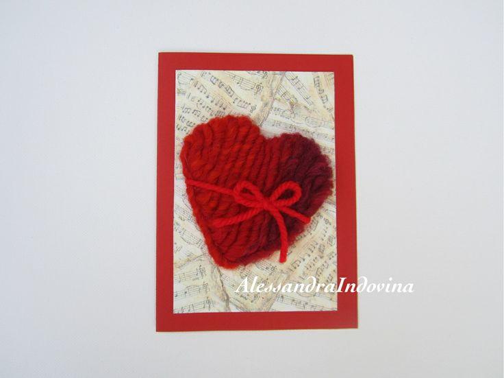 Biglietto cuore lana