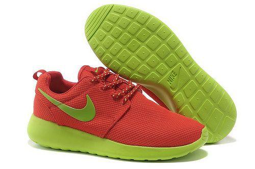 Roshe Trainers Mujer Profundo Verde Rojo Zapatillas-www.comprafree.com