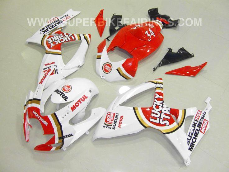 2006-2007 GSXR-600 750 White & Red Lucky Strike Fairings