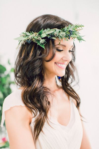 Grecian inspired floral crown: http://www.stylemepretty.com/destination-weddings/2015/01/15/romantic-santorini-wedding-inspiration/ | Photography: Heidi Lau & Artiese