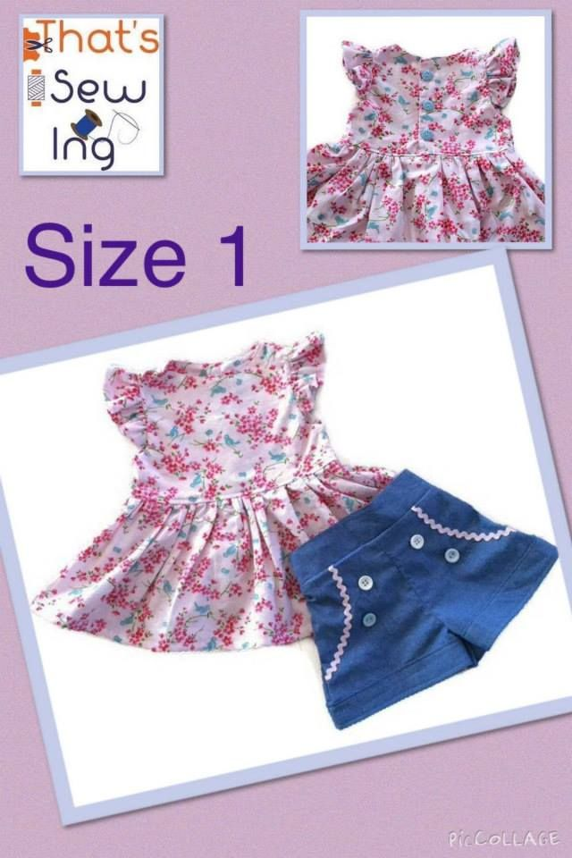 Handmade by That's Sew Ing  Size 1 shorts and top set