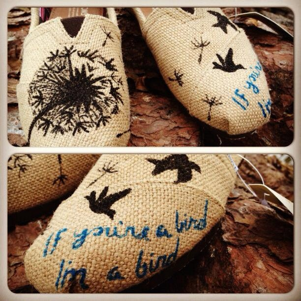 dandelion hand painted TOMS with birds (made to order). $80.00, via Etsy. // @Maggie Moore Donaldson!!!