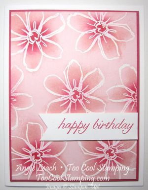 handmade birthday card ... Sponged Emboss Resist  ... monochromatic pink ... Garden In Bloom  ...