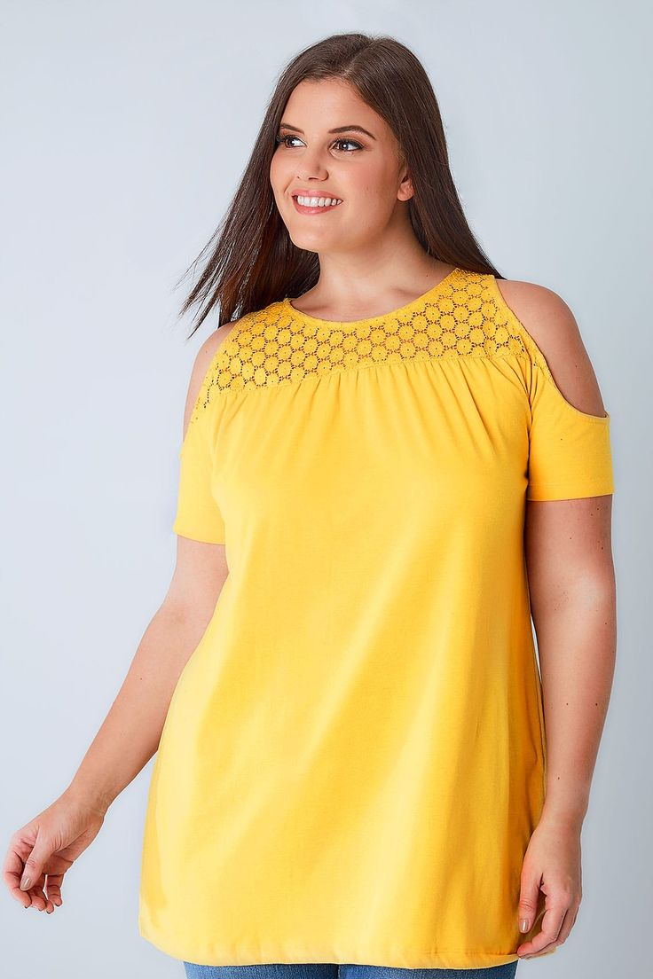 Yellow Cold Shoulder Jersey Top With Lace Yoke