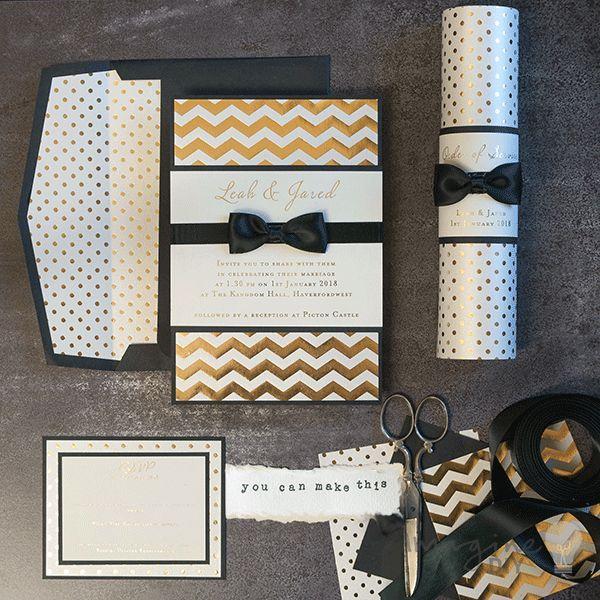 DIY wedding invitations and wedding stationery. Black and gold wedding stationery to make yourself. DIY wedding invitation for black tie event