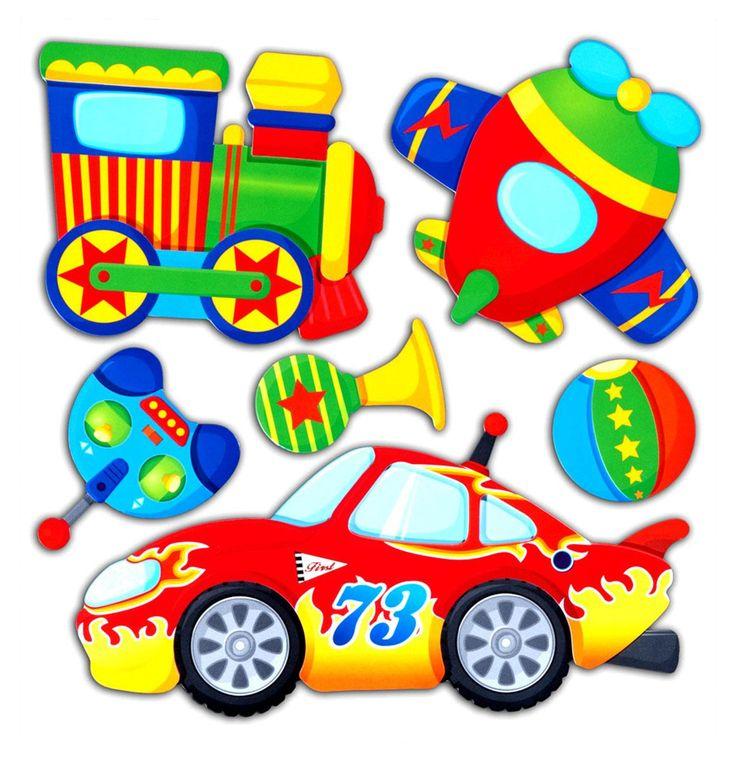 Adesivi Murali 3D AUTO TRENO AEREO cm 30,5 x 30,5 per cameretta bambini.