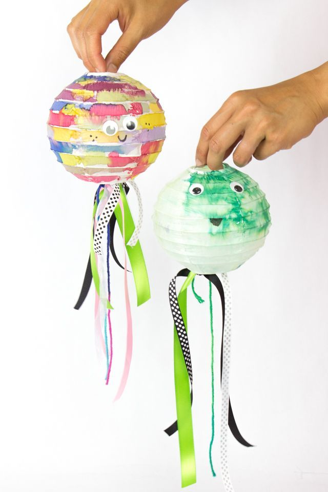 painted watercolor paper lanterns craft (cute fish, pom pom, earth, and jellyfish kids craft!)