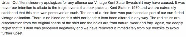 """Urban Outfitters Features """"Vintage"""" Red-Stained Kent State Sweatshirt - BuzzFeed News"""