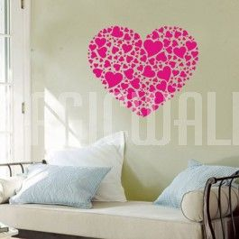 Big Heart Composed Of Small Hearts   Wall Decals Stickers