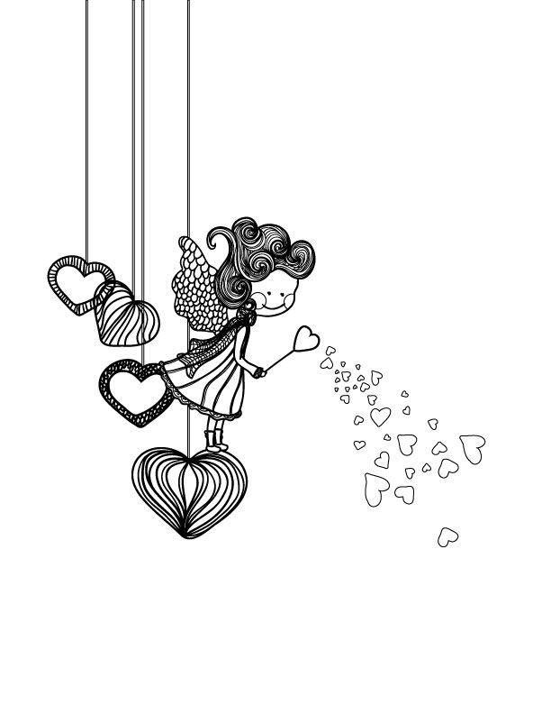 fillette amoureuse dessin pour adulte st valentin