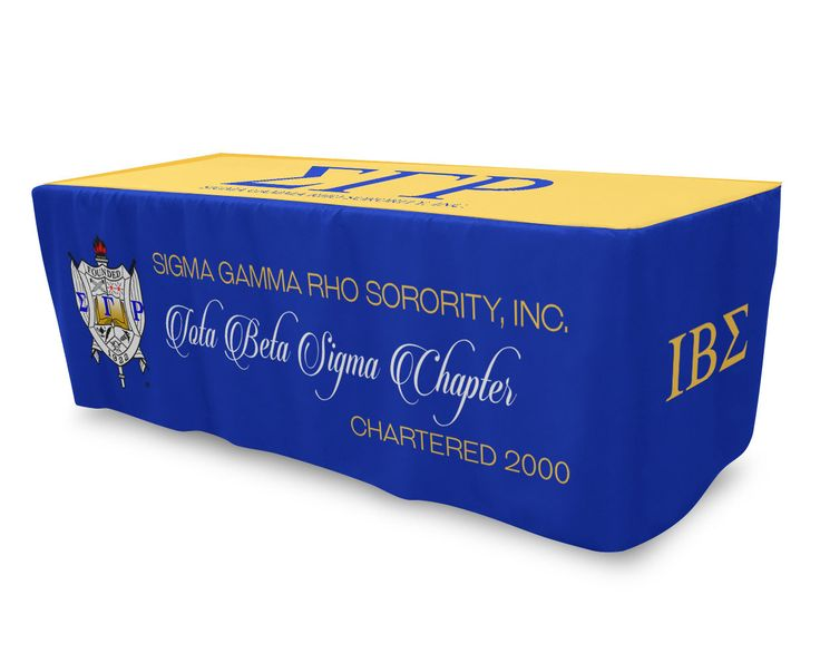 SGRho Fitted Table Cloth, Table Cover 6ft or 8ft Tablecloth - Sigma Gamma Rho - Designs by Dee's Hands
