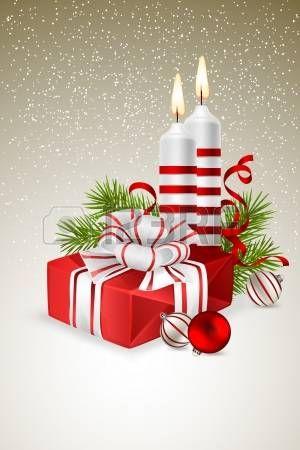 Vánoční pozadí s vánoční dárek, svíčky a jedlové větve photo