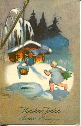 Finnish Phrase .Hauskaa Joulua. Merry Christmas; Hyvää Joulua (Martta Wendelin)