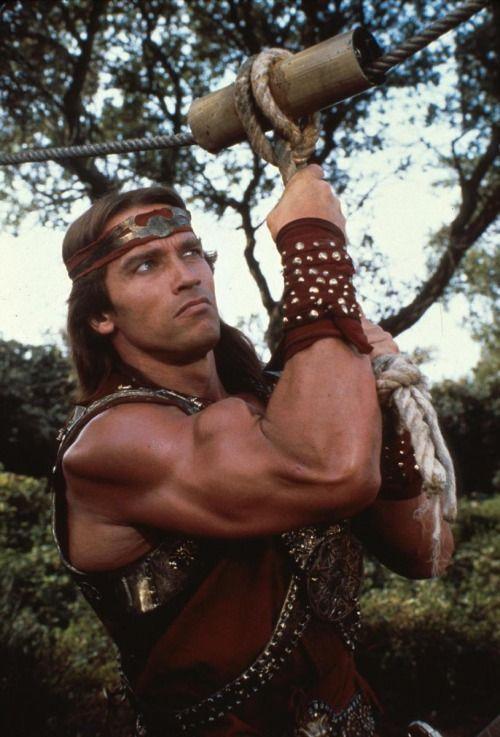 Arnold Schwarzenegger as Kalidor in #RedSonja (1985).