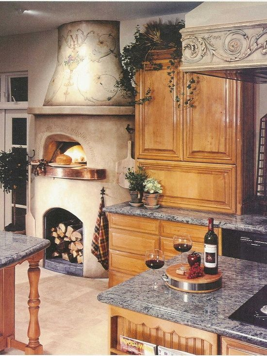 houzz pizza ovens  | Indoor Pizza Oven Design, tuscan kitchen | My Beachhouse
